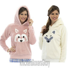 Ladies Animal Fox/Raccoon Soft Fleece Hooded Snuggle Top/Hoodie Size S, M, L
