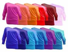 WOMEN LADIES BATWING BAGGY TOP JUMPER JERSEY LONG SLEEVE PLAIN TOP BLOUSE 8-26