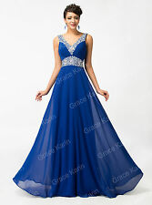Beads Long Chiffon Bridesmaid Formal Gown Ball Party Cocktail Evening Prom Dress