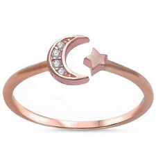 Rose Gold Plated Cz Crescent Moon & Star .925 Sterling Silver Ring Sizes 4-11