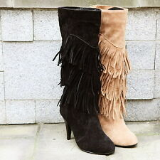 Chic Womens Kitten Heel 3 Layer Fringe Tassel Faux Suede Pull On Mid Calf Boots