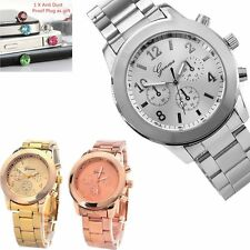Geneva Fashion Ladies Women Girl Unisex Stainless Steel Quartz Wrist Watch +Gift