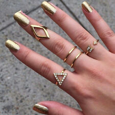 5pcs/Set Hot Crystal Geometry Urban Mid Midi Above Stack Knuckle Finger Rings