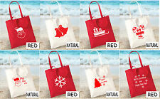 Merry Christmas Happy New Year Santa Claus Candy Cane Bell Tote Bag Shopping Bag