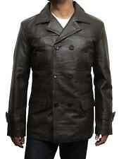 Brandslock Mens Genuine Leather Biker Jacket World War 2 German Marine Pea Coat