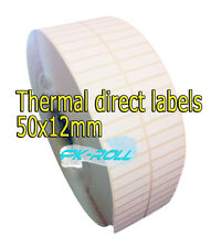Thermal Direct White Sticky Labels 50X12mm 2x0.5 inch Zebra  GC420d And More