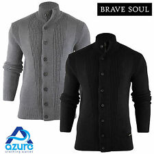 Mens Jumper Brave Soul 'Mira' Funnel Neck Cardigan Cotton Knitted Sweater S-XL