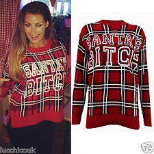 Womens Ladies Santas Bitch Red Christmas Tartan Knitted Jumper Celebrity Style