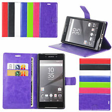 PU Leather Flip Case Wallet Book Cover Side Pouch For Xperia Z5, Z5 Mini,Compact