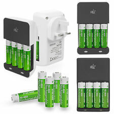 HQ AA AAA Battery Charger + 4 x High Power Rechargeable Batteries 2000 - 2700mAh