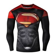 Men Long Sleeve Compression T-shirt Marvel DC Comics Superman Cosplay Top