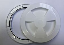 White plastic round waterproof access / inspection hatch - boat / caravan / RV