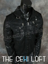 BRAND NEW Black Vegan-Leather P/U BOMBER Coat Jacket Sizes L XL 2XL 3XL 4XL