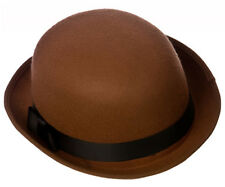 BROWN FELT BOWLER HAT QUALITY DERBY INDESTRUCTIBLE WITH BLACK BAND VICTORIAN