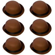 6 X BROWN FELT BOWLER HAT QUALITY DERBY INDESTRUCTIBLE WITH BLACK BAND VICTORIAN