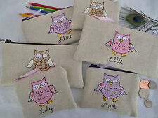 Personalised Owl Coin Purse/Wallet or Pencil Case Linen, Word and Design Choice
