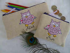 Personalised Purple Owl Coin Purse or Pencil Case Linen Word & Design Choice