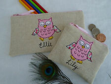 Personalised Pink Owl Coin Purse or Pencil Case Linen Word & Design Choice Gift