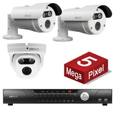 3 Zxtech 5MP Ultra HD 5 Megapixel IP Camera P2P Outdoor CCTV PoE Security Kit