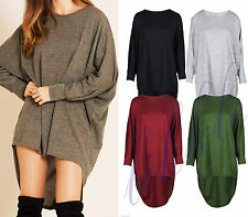 New womens ladies high low dip back Loose fit over sized batwing top dress 8-30