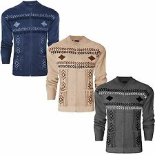 MENS CLASSIC FRONT BUTTON & ZIP UP VINTAGE KNIT GRANDAD JUMPER CARDIGAN KNITTED