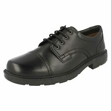 "Clarks ""Lair Cap"" Mens Black Toe Cap Lace Up Leather Shoes"