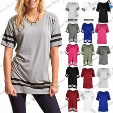 Womens Ladies Stripe Baggy Oversized Top Cap Sleeve Sports Pullover T Shirts
