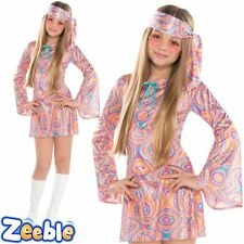 Girls Hippie Fancy Dress Costume Teen 1960s Outfit Disco Diva Age 12-16 Years