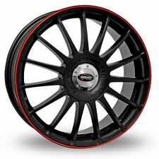 """4 x 16"""" Team Dynamics Monza RS Black Red Alloy Wheels & 205/55/16 Tyres"""