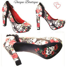 *  BANNED SKULL AND ROSES HIGH HEELED SHOES GOTHIC PUNK BLACK RED UK 3-8 *