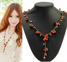 Vintage Wine Red Cherry Round Beads Sweeter Chain Necklace - Summer Necklace