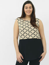 Lovedrobe Womens Plus Size Check Double Layer Sleeveless Top Stone and Black