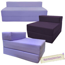 Purple Fold Out Guest Sofa Z Bed Sleeping Mattress Studio Student Indoor Outdoor