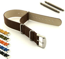 Men's Suede Genuine Leather Military MoD Watch Strap Band Nato G10 Fixed Lugs