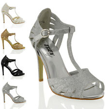 Womens High Stiletto Heel Cut Out Ladies PeepToe Sparkly Caged Sandals Shoes 3-8
