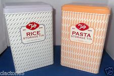 TALA RETRO VINTAGE 1950s RICE PASTA CONTAINER CANISTER STORAGE TINS SET OF 2