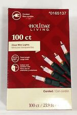 100 Clear Mini Christmas Lights GREEN Wire Holiday Living Wedding Indoor/Outdoor
