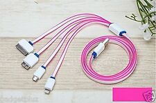 Pink 4 in 1 Multi USB Charger Adapter Charging Cable for iPhone Samsung Galaxy