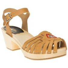New Womens Swedish Hasbeens Tan Huarache High Leather Sandals Clogs Buckle