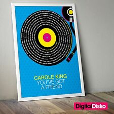 Carole King - Youve Got A Friend Song Lyrics Poster Art. Unframed -2 Sizes