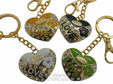 Heart Keychain Golden Trim With LOVE Diamante Bling Accents & Lobster Clasp