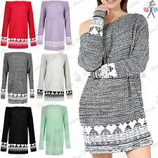 Ladies Womens Chunky Knitted Hearts Print Off The Shoulder Top Jumper Sweater