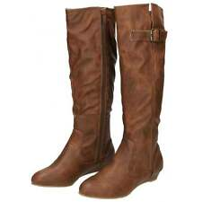 Ladies Brown Flat Knee High Wedge Heel Boots Semi Pointed Toe Faux Leather