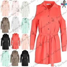 Womens Belted Button Up Collar Neck Long Sleeves Cut Out Shoulders Mini Dress