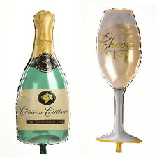 1 Pcs Champagne Balloons Wine Bottle and Cup Balloon for Company Anniversary