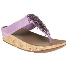 New Womens FitFlop Purple Cha Cha Suede Sandals Flip Flops