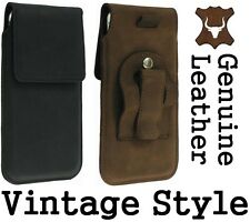 FLAP GENUINE LEATHER HOLSTER BELT CLIP POUCH CASE FOR MOBILES - RANGE OF MODELS