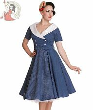 HELL BUNNY 50's vintage style CLAUDIA POLKA DOT rockabilly DRESS BLUE