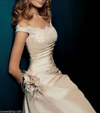 Champagne wedding dress bridal gown Applique wrapped shoulder BRIDESMAID DRESSES