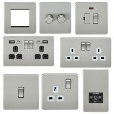 Screwless Brushed Stainless Steel Modern Decorative Switches & Sockets